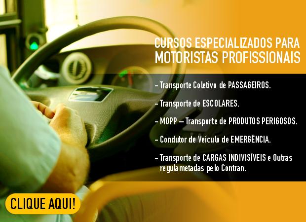 CURSOS ESPECIALIZADOS PARA MOTORISTAS PROFISSIONAIS